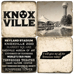 Knoxville Tennessee Coaster Set.  Handmade Marble Giftware by Studio Vertu.