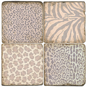 Animal Print Coaster Set. Handcrafted Marble Giftware by Studio Vertu.