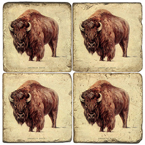 Wild Bison Coaster Set. Handcrafted Marble Giftware by Studio Vertu.