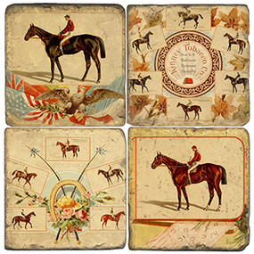 Derby Horses Coaster Set. Handcrafted Marble Giftware by Studio Vertu.