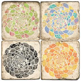 Four Seasons Mandala Coaster Set. Handmade Marble Giftware by Studio Vertu.