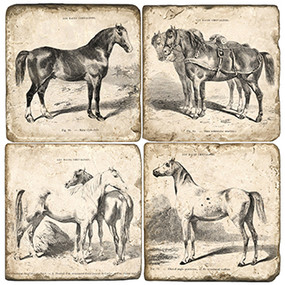 Equestrian Coaster Set. Handcrafted Marble Giftware by Studio Vertu.