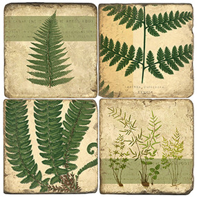 Botanical Ferns Coaster Set. Handcrafted Marble Giftware by Studio Vertu.