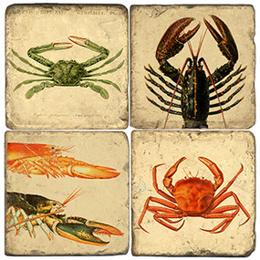 Crustacean Coaster Set. Handcrafted Marble Giftware by Studio Vertu.