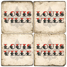 Louisville Themed Coaster Set.  Handmade Marble Giftware by Studio Vertu.