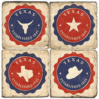 Made in Texas Coaster Set. Handmade Marble Giftware by Studio Vertu.