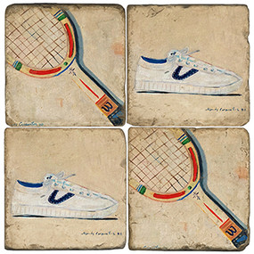 Vintage Tennis Coaster Set. Handcrafted Marble Giftware by Studio Vertu.