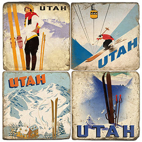 Utah Ski Coaster Set. Handcrafted Marble Giftware by Studio Vertu.