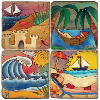 Sticks Beach Landscapes Coaster Set. Handcrafted Marble Giftware by Studio Vertu.