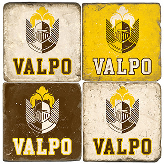 Valpo University Coaster Set. Handcrafted Marble Giftware by Studio Vertu.