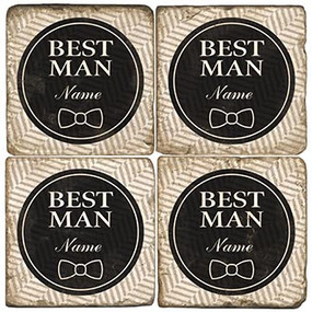 Black and White Best Man Coaster Set