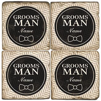 Black and White Groomsman Coaster Set