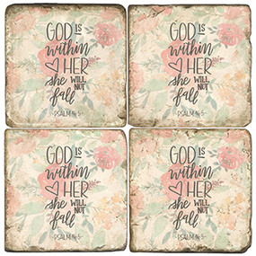 Floral quote Coaster Set. Handmade Marble Giftware by Studio Vertu.