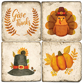 Thanksgiving Coaster Set. Handmade Marble Giftware by Studio Vertu