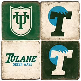 Tulane University Coaster Set. Handcrafted Marble Giftware by Studio Vertu.