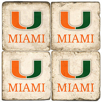 University of Miami Coaster Set. Handcrafted Marble Giftware by Studio Vertu.
