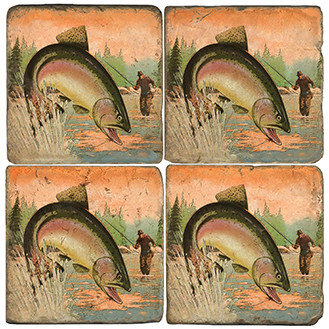 Fly Fishing Coaster Set. Handcrafted Marble Giftware by Studio Vertu.