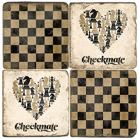 Chess Coaster Set. Handcrafted Marble Giftware by Studio Vertu.