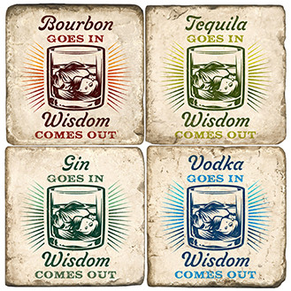 Liquor Wisdom Coaster Set. Handcrafted Marble Giftware by Studio Vertu.