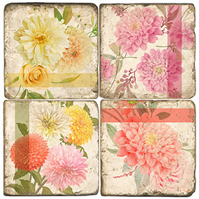 Dahlia Coaster Set. Handmade Marble Giftware by Studio Vertu.