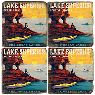 Lake Superior Coaster Set.  Illustration by Anderson Design Group.