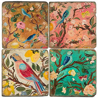 Chinoiserie Birds Coaster Set. Handcrafted Marble Giftware by Studio Vertu.