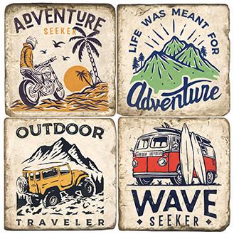 Adventure Themed Coaster Set.  Handmade Marble Giftware by Studio Vertu.