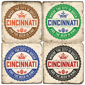Cincinnati Coaster Set.  Handmade Marble Giftware by Studio Vertu.
