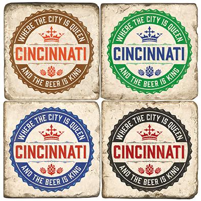 Cincinnati Coaster Set.  Handmade Marble Giftware by Studio Vertu.