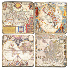 Vintage World Maps Coaster Set