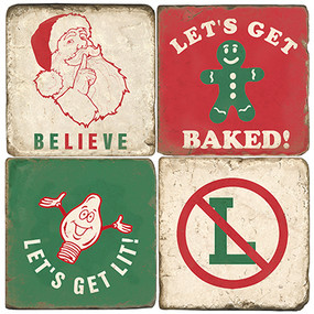 Funny Christmas Coaster Set