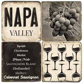 Black & White Napa Valley Coaster Set