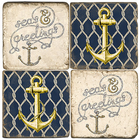 Nautical Christmas Coaster Set