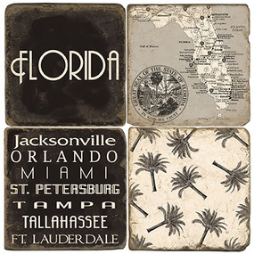 Black & White Florida Coaster Set