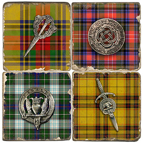 Kilt Pins on Tartan Plaid