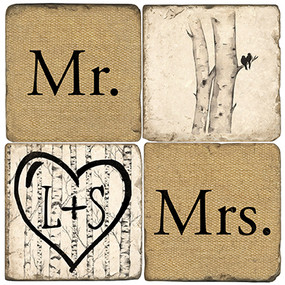 Mr. & Mrs. Name Drop Coaster Set