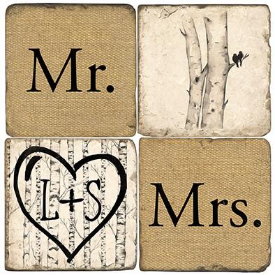Mr. & Mrs. Name Drop Coaster Set