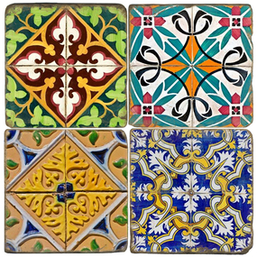 Spanish Tiles design on Italian marble coasters.