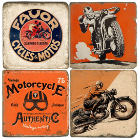 Vintage motorcycle set. Handmade Marble Giftware by Studio Vertu.