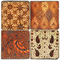 Colorful Batik pattern coaster set