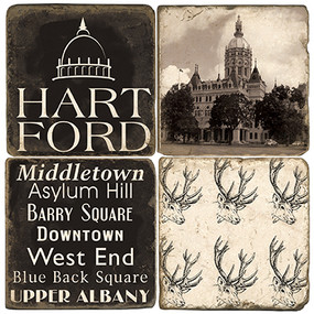 Black & White Hartford, Connecticut Coaster Set