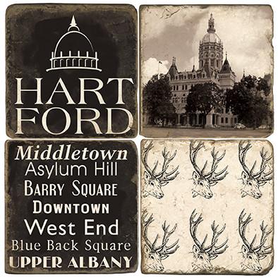 Black & White Hartford, Connecticut Coaster Set