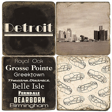 Black & White Detroit Coaster Set