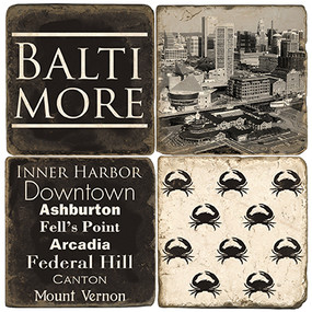 Black & White Baltimore, Maryland Coaster Set