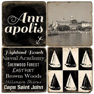 Black & White Annapolis, Maryland coaster set.