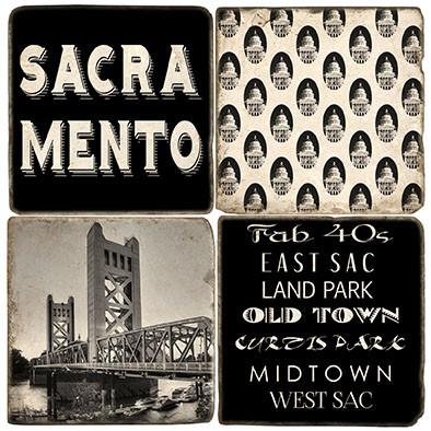Black & White Sacramento Coaster Set