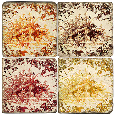 Toile Dogs Pattern Coaster Set