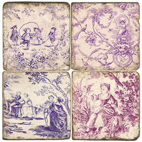 Violet Toile Pattern Coaster Set