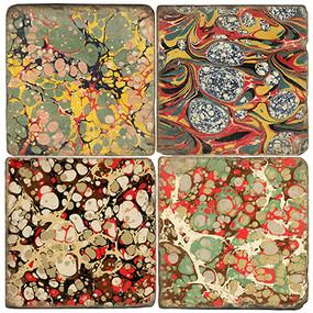 Marbleized Paper Coaster Set. Handmade Marble Giftware by Studio Vertu.