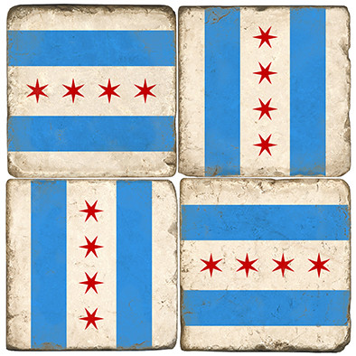Chicago Flag Coaster Set